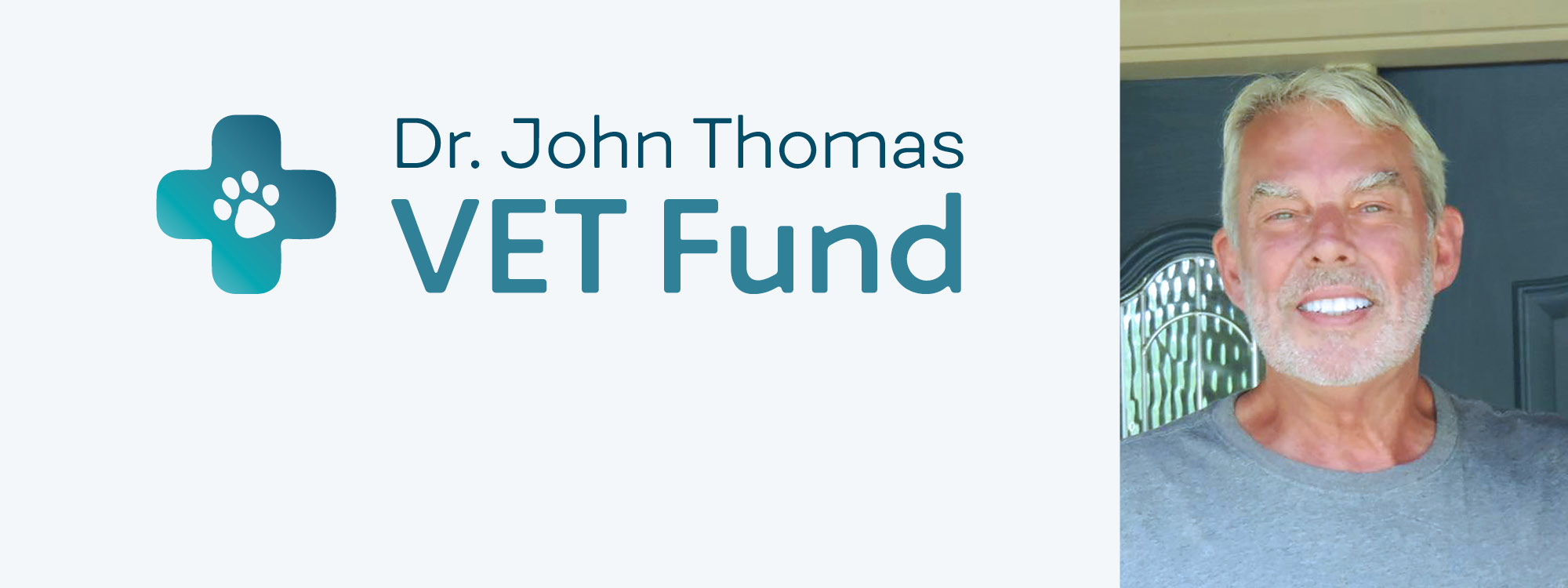 dr. john thomas smiling image on right hand side with dr. john thomas vet fund text