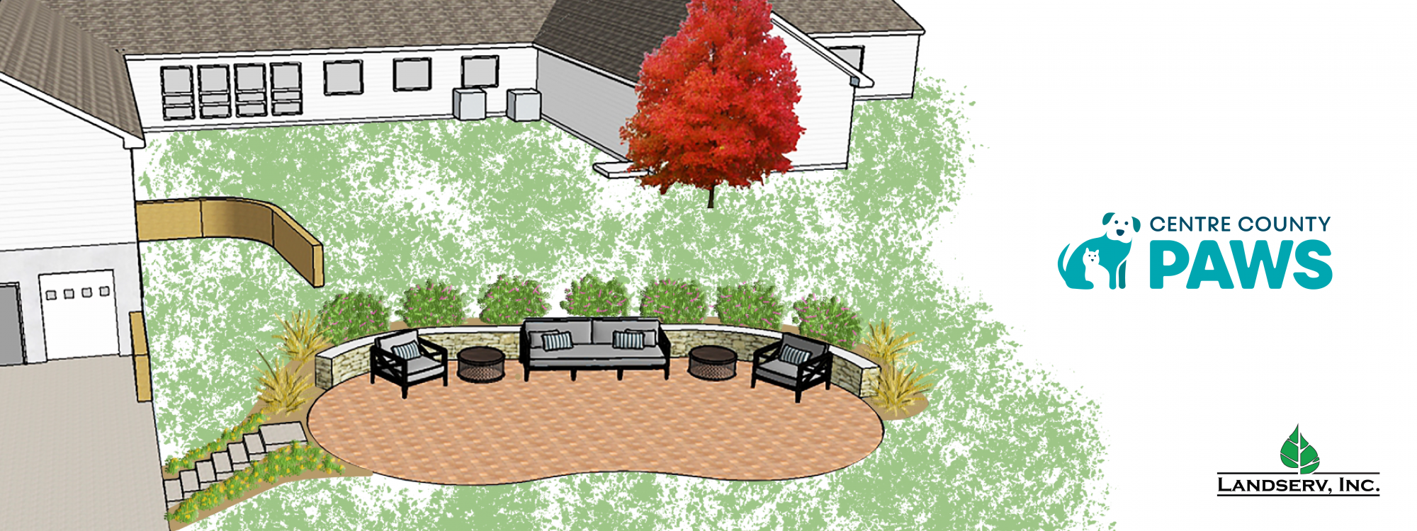 graphical drawing of brick patio with Centre County PAWS logo on right hand side over white background.